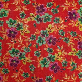 Chita Fundo Vermelho com Flores Verdes e Roxa - 100% algodão - valor referente a 50 cm x 1,40 cm