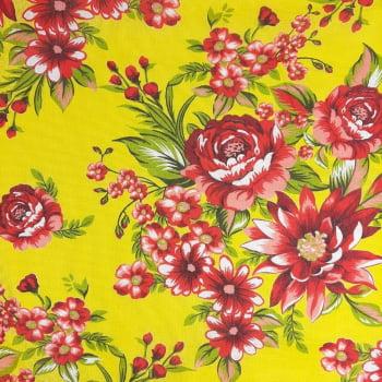 Chita Fundo Amarelo com Flores Vermelhas - valor referente a 50 cm x 1,40 cm