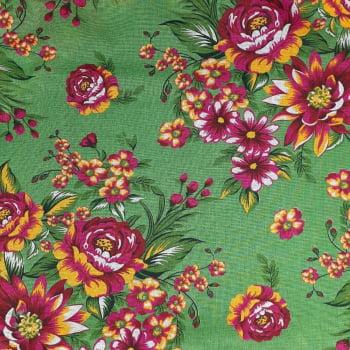 Chita Fundo Verde com Flores Amarelas e Rosas - valor referente a 50 cm x 1,40 cm
