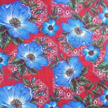Chita Fundo Vermelho com Flores Azuis - valor referente a 50 cm x 1,40 cm