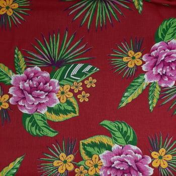 Chita Fundo Marsala com Flores Rosa - valor referente a 50 cm x 1,40 cm