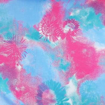 Tricoline Tie Dye Rosa e Tiffany - 100% algodão - valor referente a 50 cm x 1,50 cm