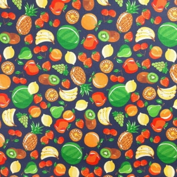 Tricoline Frutas Fundo Marinho 100% algodão - valor referente a 50 cm x 1,50 cm