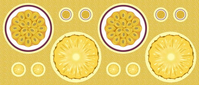 Tricoline  Sousplat Abacaxi - Maracujá 100% Algodão - Cada unid. 60cm X 1,50m