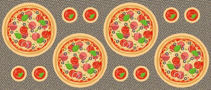 Tricoline Sousplat Pizzas 100% Algodão - Cada unid. 0,60cm X 1,50m