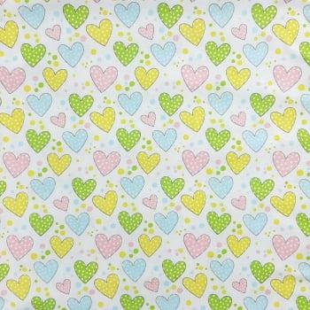 Tricoline Corações Coloridinhos 100% algodão - cada unid. 0,50cm x 1,50m