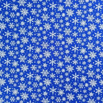 Tricoline Floco de Neve Fundo Azul Royal - 100% algodão - valor referente a 50 cm x 1,50 cm