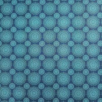 Tricoline Mandalas Azuis - 100% algodão - valor referente a 50 cm x 1,50 cm