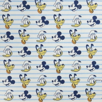 Tricoline Mickey Pluto e Pato Donald - Fernando Maluhy -100% algodão - valor referente a 50 cm x 1,50 cm