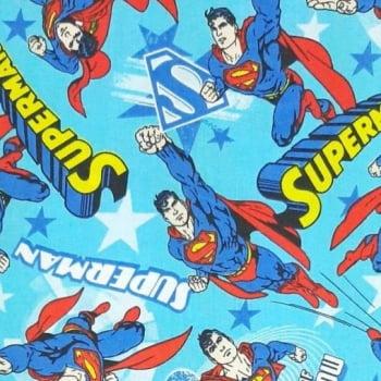 Tricoline Super Homem 100% algodão - valor referente a 50 cm x 1,50 mt