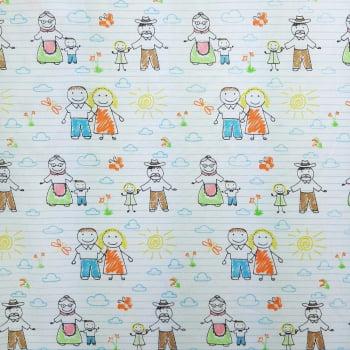 Tricoline My Family Avós - 100% algodão - valor referente a 50 cm x 1,50 cm