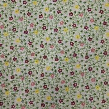 Tricoline Fabricart Signature Florzinha Creme - 100% algodão  - valor referente a 0,50 cm x 1,50 cm