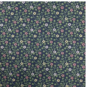 Tricoline Fabricart Signature Florzinha Marinho - 100% algodão  - valor referente a 50 cm x 1,50 cm