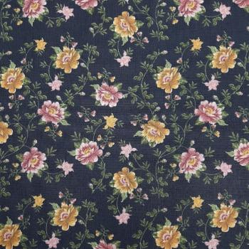 Tricoline Fabricart Signature Lírios Marinho- 100% algodão  - valor referente a 50 cm x 1,50 cm