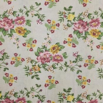 Tricoline Fabricart Signature Mini Lírios Creme- 100% algodão  - valor referente a 50 cm x 1,50 cm