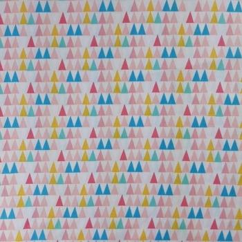 Tricoline Fabricart Signature Triangulos Multicolor 100% algodão - valor referente a 50 cm x 1,50 cm