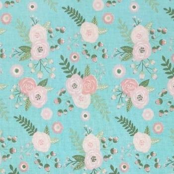 Tricoline Flor Shabby Cristal 100% algodão - valor referente a 0,5 cm x 1,50 cm