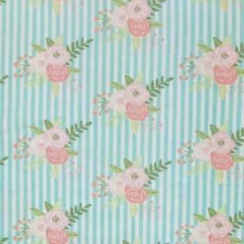 Tricoline Floral com Listras Azuis 100% algodão - valor referente a 50 cm x 1,50 mt
