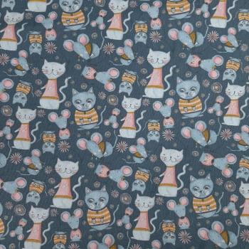 Tricoline Kitty Garden Cinza 100% algodão - valor referente a 50 cm x 1,50 cm