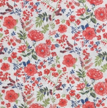 Popeline Floral Laranja 50% Algodão 50% Poliéster  - valor referente a 50 cm x 1,40 cm