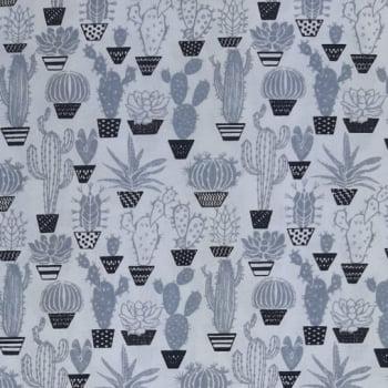 Tricoline Cactos Preto e Branco no Vaso 100% algodão - valor referente a 0,50 cm x 1,50 cm