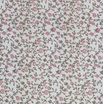 Tricoline Flores Românticas 100% algodão - valor referente a 0,5 cm x 1,50 cm