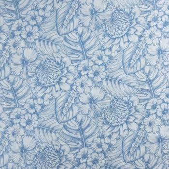 Viscose Flores Azul e Branco - 100% Viscose - valor referente a 50 cm x 1,50 cm