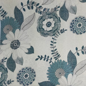 Jacquard Floral com Azul - cada unid. 50cm x 1,40mt