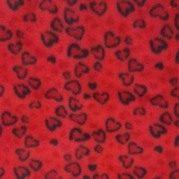 Soft Corações Fundo Vermelho - cada unid. 0,50cm x 1,60m