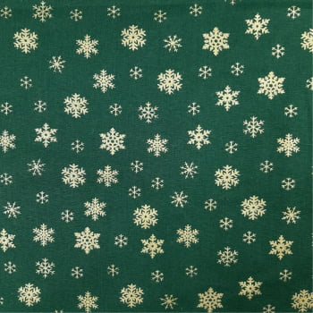 Tricoline Natal Floco de Neve Fundo Verde - 100% algodão - 0,50 cm x 1,50