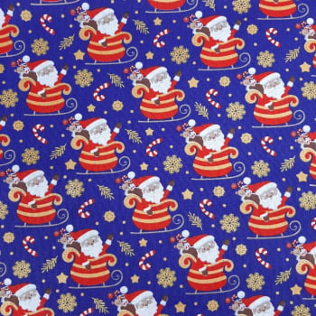 Tricoline Papai Noel Fundo Azul - valor referente a 50 cm x 1,50 cm