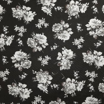 Tricoline Jasmine fundo Preto - 100% Algodão - valor referente a 50 cm x 1,50 mt