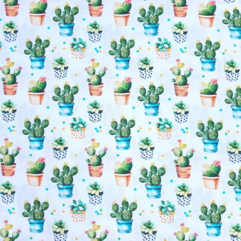 Tricoline Digital Cactos - 100% algodão - valor referente a 0,50 cm x 1,50 cm