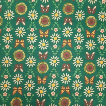 Tricoline Borboleta e Girassol Fundo Verde  - 100% algodão - valor referente a 50 cm x 1,50 cm