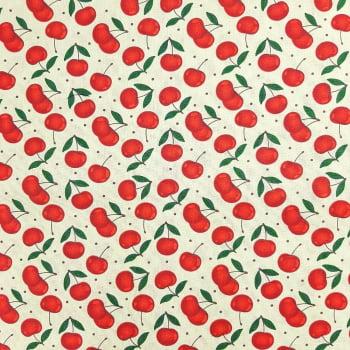 Tricoline Cerejinhas - 100% algodão - cada unid. 50cm x 1,50m