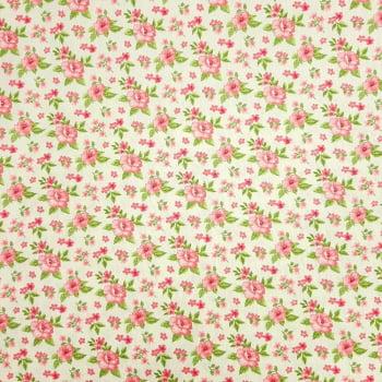 Tricoline Fabricart Signature Flor Fundo Bege -100% algodão - valor referente a 50 cm x 1,50 cm