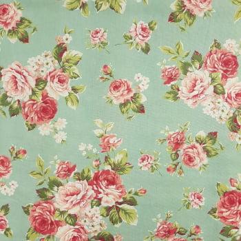 Tricoline Floral Amore Fundo Verde -100% algodão- valor referente a 50 cm x 1,50 cm