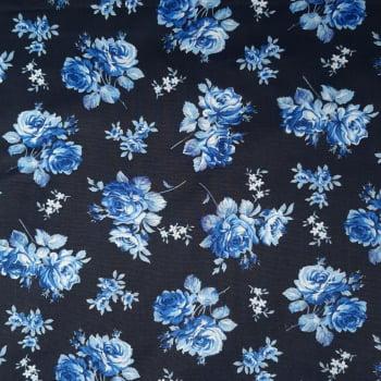 Tricoline Floral fundo Preto com Flores Azuis - 100% Algodão - valor referente a 50 cm x 1,50 mt