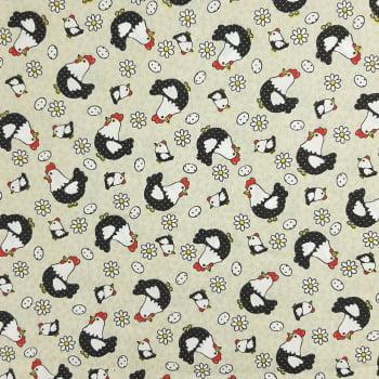 Tricoline Galinhas Fundo Creme - 100% algodão - valor referente a 50 cm x 1,50 cm