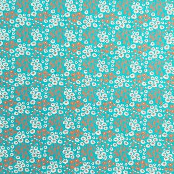 Tricoline Margaridas e Ramos fundo Verde  Tiffany 100% algodão - valor referente a 50 cm x 1,50 mt