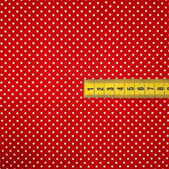 Tricoline Poá Pequeno Vermelho -100% algodão - valor referente a 50 cm x 1,50 cm