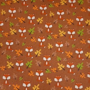 Tricoline Raposas e Árvores Fabricart Signature Outono - 100% algodão - valor referente a 50 cm x 1,50 cm