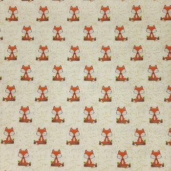 Tricoline Raposinha Creme Fabricart Signature Outono - 100% algodão - valor referente a 50 cm x 1,50 cm