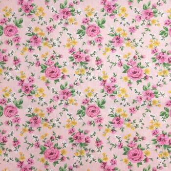 Tricoline Rosas e Flores Amarelinhas 100% algodão - valor referente a 50 cm x 1,50 mt