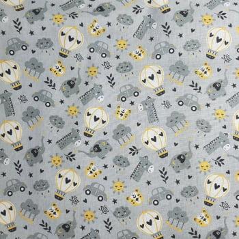 Tricoline Zoológico Cinza e Amarelo 100% algodão - valor referente a 50 cm x 1,50 mt
