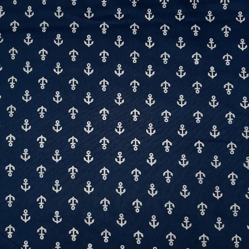 Tricoline Âncora fundo Azul Marinho100% algodão - valor referente a 50 cm x 1,50 mt