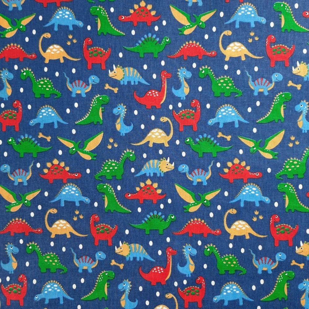 Tricoline Dinossauro Fundo Azul 100% algodão - valor referente a 50 cm x 1,50 mt