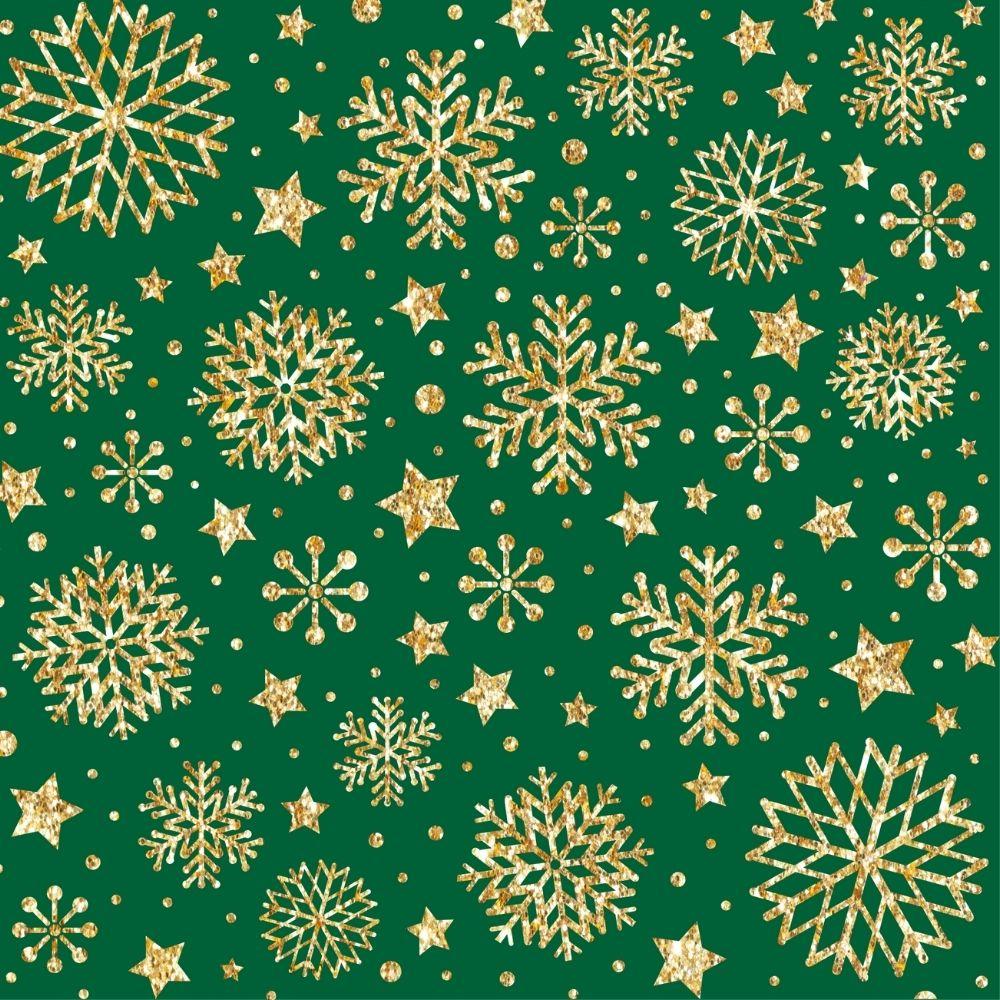 Tricoline Flocos Natalinos Fundo Verde - 100% algodão - valor referente a 50 cm x 1,50 cm