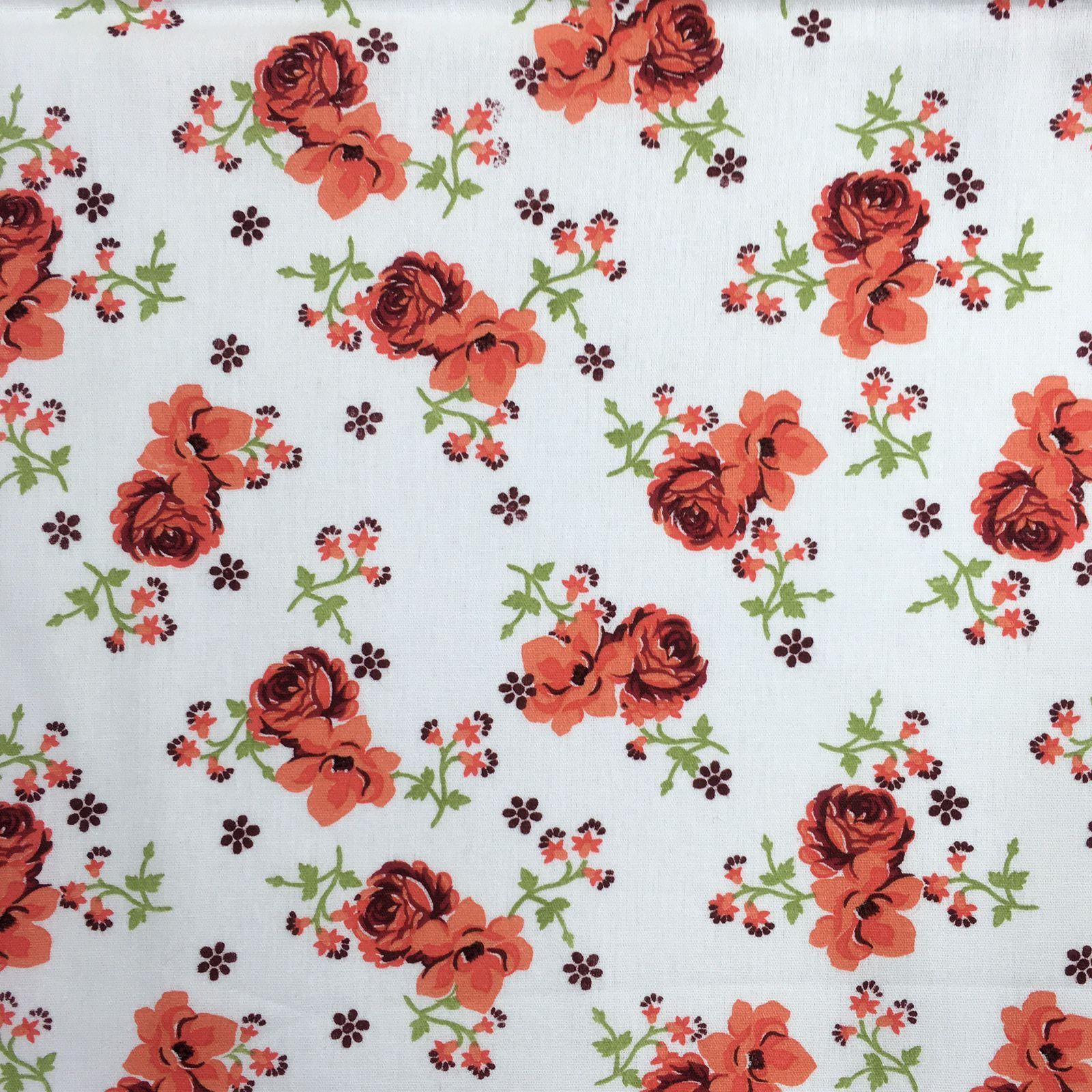 Tricoline Flores Laranja e Branco - 100% algodão - valor referente a 50 cm x 1,50 cm