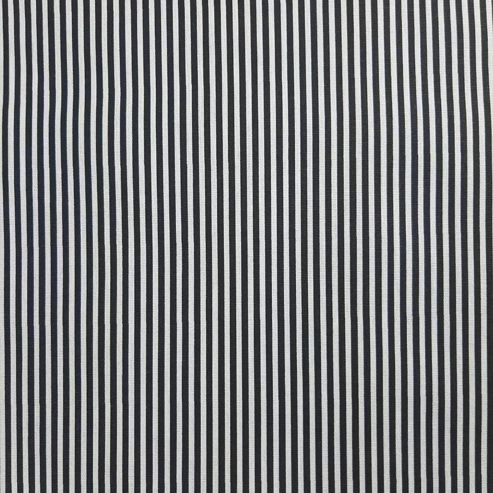 Tricoline Listrado Preto 100% algodão - valor referente a 50 cm x 1,50 mt